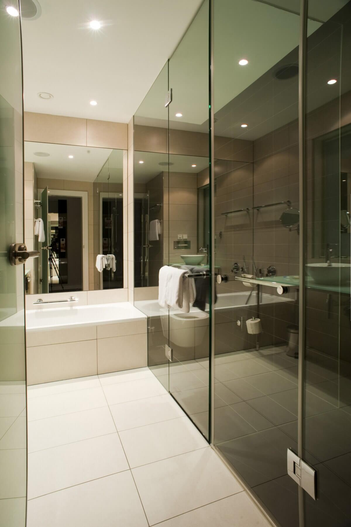 Interior of a modern residential bathroom